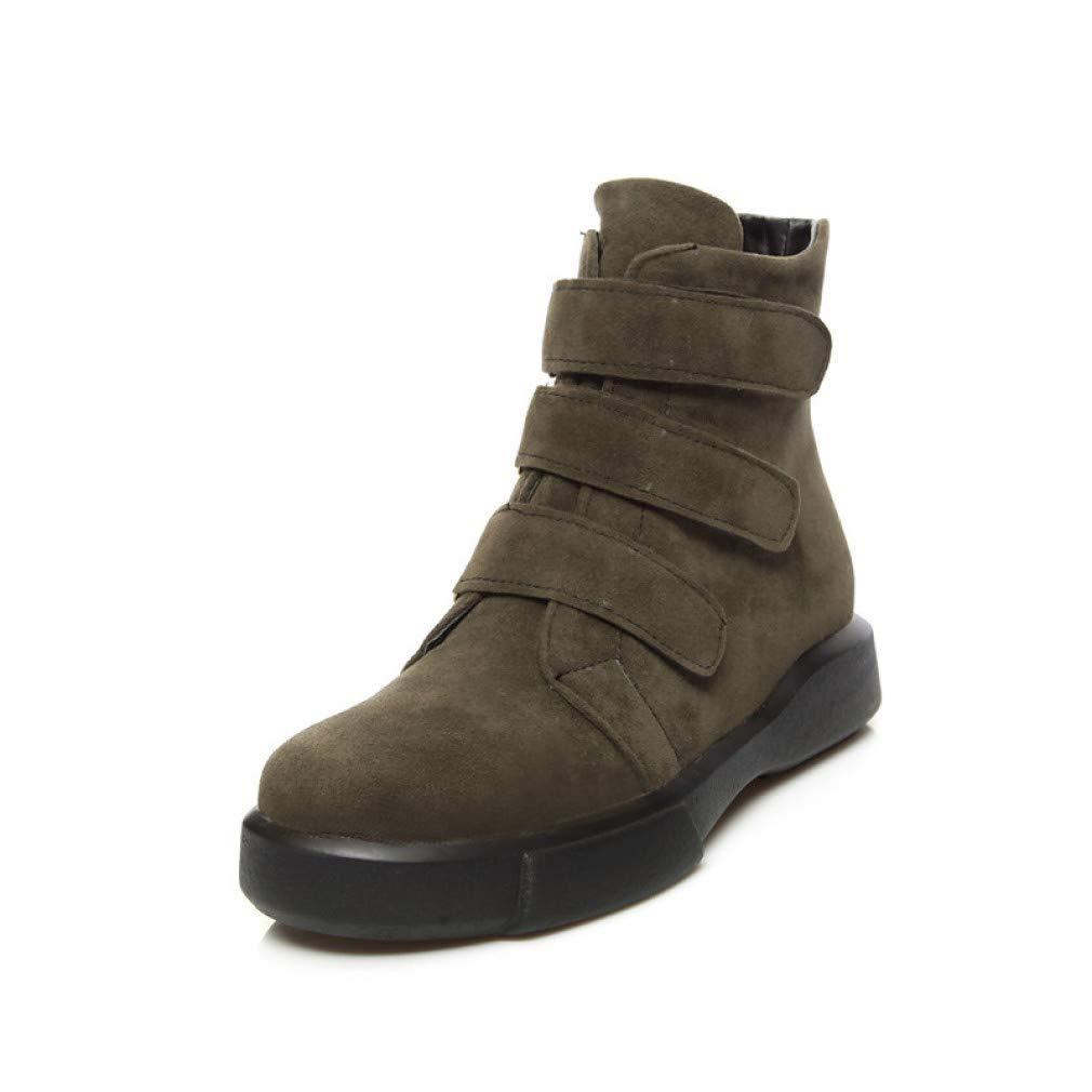 SchuheHAOGE Damen Comfort Schuhe Suede Herbst & Winter Casual Stiefel Creepers Round Toe Stiefel Schwarz/Mandel / Dunkelgrün