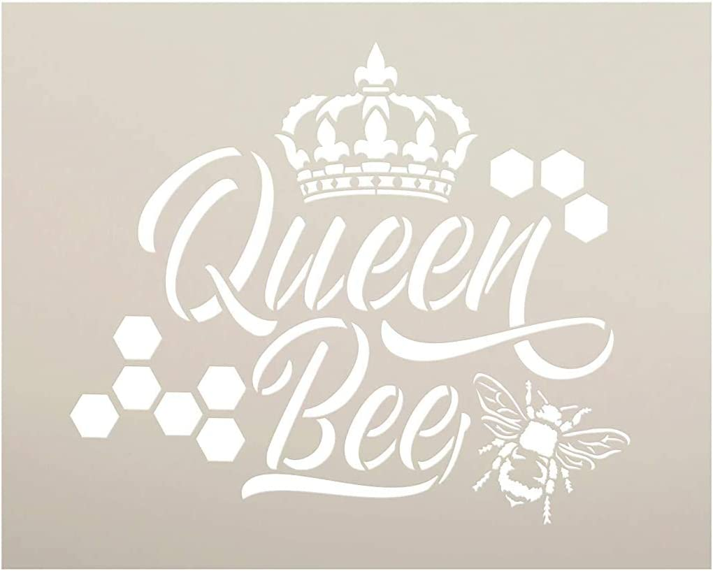 Queen Bee Stencil with Crown & Honeycomb by StudioR12   DIY Farmhouse Script Home Decor   Cursive Country Word Art   Craft & Paint Wood Signs   Reusable Mylar Template   Select Size (15 x 12 inch)