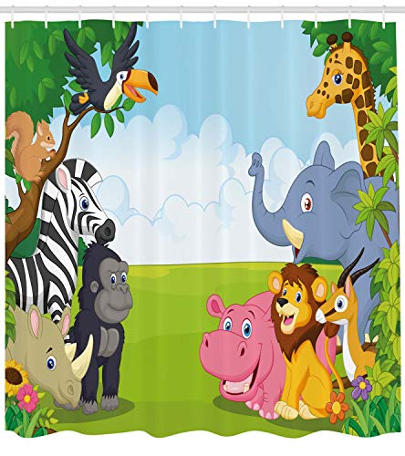 Ambesonne Animal Shower Curtain, Kids Design Children Nursery Room Safari Themed Cartoon Animals Image Artwork Print, Cloth Fabric Bathroom Decor Set with Hooks, 75 Inches Long, ()