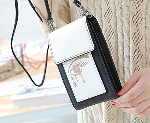 Femme à Porte Bandoulière pour Noir pour Téléphone Sac Diyafas Portefeuille Portable Petit Pochette Sangle Cartes avec Hxqww6zF1