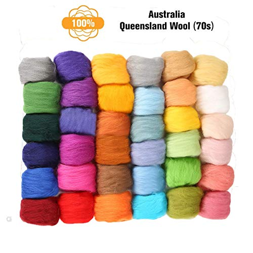 Jeteven 36 Colors Fibre Wool Yarn Roving Spinning Sewing Trimming Merino Wool Fibre Roving for Needle Felting ()