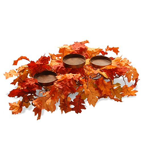 National Tree 22 Inch Candle Holder with Maple Leaves (RAHV-E060280B)