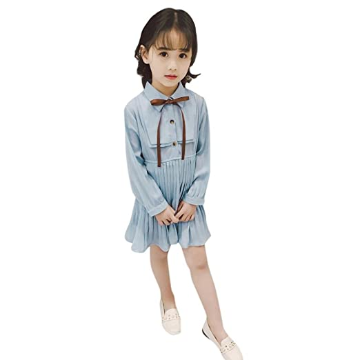 c3024aa9d04 Amazon.com  WARMSHOP Princess Kids Girls Solid Bowknot Long Sleeve Slim  Dress Button up Collar Party Casual Pleated Skirt Outfits  Clothing