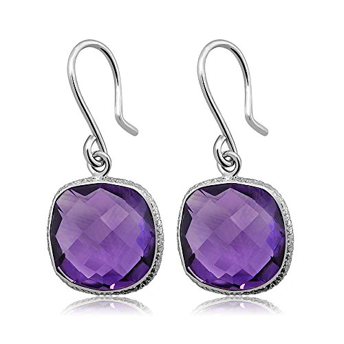 Gem Stone King 925 Sterling Silver Amethyst Dangle Women's Earrings 12.00 Ctw Gemstone Birthstone Cushion Checkerboard Cut