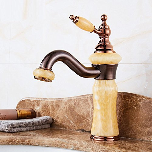 Modern simple copper hot and cold kitchen sink taps kitchen faucet Antique bathroom single handle hot and cold mixing mixer single hole basin mixer copper marble faucet Suitable for bathroom kitchen
