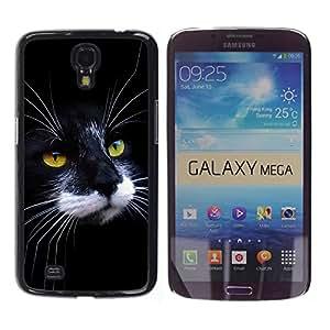 Black White Cat House American Wirehair - Metal de aluminio y de plástico duro Caja del teléfono - Negro - Samsung Galaxy Mega 6.3 I9200 SGH-i527