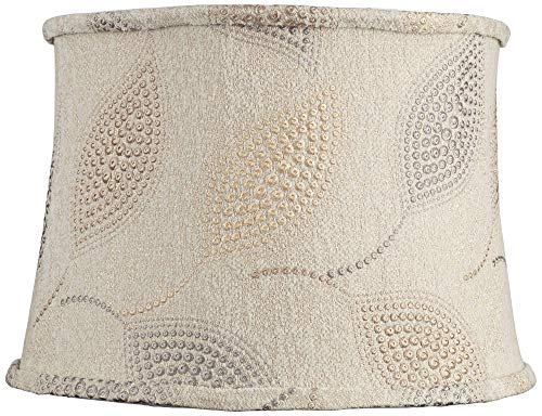 Colored Leaf Dot Embroidered Drum Shade 14x16x11 (Spider) - Springcrest