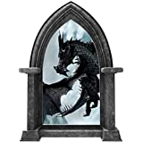 """24"""" Castle Scape Black Dragon #1 Granite Stone Castle Window Wall Decal Sticker Mural Medieval Mythical Fantasy Fairytale Game of Thrones Kids Playroom Wall Art Decor"""