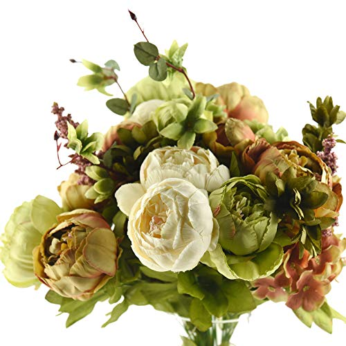 FiveSeasonStuff Vintage Artificial Peonies Silk Flowers and Hydrangeas for Wedding Bridal Home Décor - Beautiful Floral Centerpiece Arrangement with 2 Bouquets (Country Rustic Brown Beige Green Mix) (Centrepieces Winter)