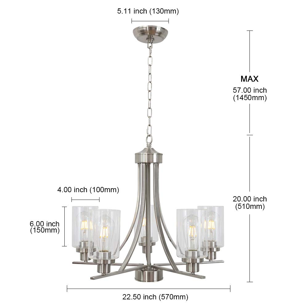 BONLICHT Traditional Chandelier Lighting 5 Light Brushed Nickel Modern Light Fixtures Hanging Pendant Lighting with Clear Glass Shade Classic Ceiling Lights for Kitchen Dining Room Living Room Island