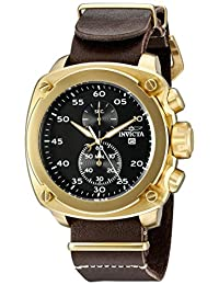 Invicta Men's 20059SYB Aviator Stainless Steel Watch with Brown Leather Band