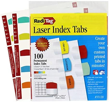 RTG33120 1 1//8 in PK 100//Pack 5 Colors Redi-Tag Laser Printable Index Tabs