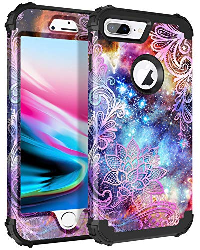 Casetego Compatible iPhone 8 Plus Case,iPhone 7 Plus Case,Floral Three Layer Heavy Duty Hybrid Sturdy Armor Shockproof Protective Cover Case for Apple iPhone 8 Plus/7 Plus,Purple Mandala ()