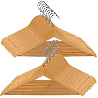 Wood Clothes Hangers 20 Pack, 360° Swivel Hook Suit Hanger, Heavy Duty Smooth Finish Wooden Coat Hangers with Notches & Non Slip Pants Bar for Jacket, Sweater, Camisole, Pants, Dresses, Shirts, Hoodie