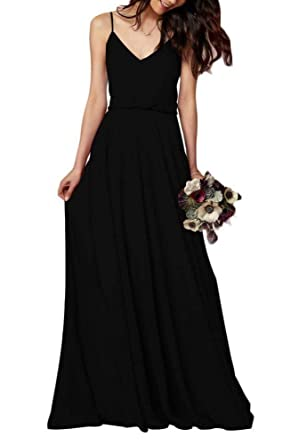 8bbf904a49 EverLove Women s Long Spaghetti Straps Prom Dress Chiffon Bridesmaid Dresses  Black US2