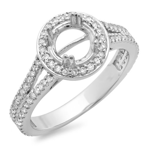 Dazzlingrock Collection 0.50 Carat (ctw) 10K Round Cut Diamond Semi Mount Bridal Engagement Ring 1/2 CT, White Gold, Size 9