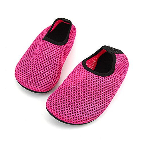 Ecseo Unisexe Parent-enfant Eau Chaussures Aqua Chaussettes Pour La Plage De Natation Yoga Sport-fitness Respirant Appartements Enfant-rouge