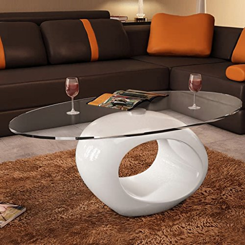 Festnight High Gloss Coffee Table Tempered Glass Top Oval Sofa and Couch End Side Table White Round Hollow Shelf Living Room Home Waiting Room Furniture