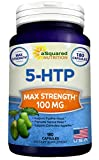 Pure 5-HTP (100mg, 180 Capsules) – Max Strength 5 HTP Supplement Pills, All Natural 5HTP to Improve Mood, Sleep & Relaxation, Increases Appetite Control to Aid Weight Loss, Stress Relief Vitamin