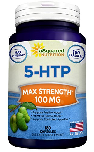 5 Mg 180 Pills (Pure 5-HTP (100mg, 180 Capsules) - Max Strength 5 HTP Supplement Pills, All Natural 5HTP to Improve Mood, Sleep & Relaxation, Increases Appetite Control to Aid Weight Loss, Stress Relief Vitamin)
