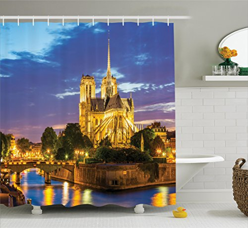 Notre Dame Cathedral Pictures - Ambesonne Paris Decor Collection, Notre Dame Cathedral at Dusk in Paris France Riverside Scenery Lights Reflection Image, Polyester Fabric Bathroom Shower Curtain Set with Hooks, Blue Golden