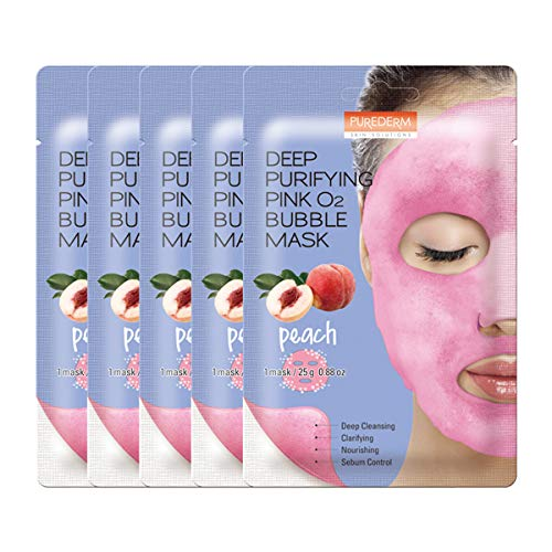 - PUREDERM Deep Purifying Pink O2 Bubble Mask 0.88oz x 5ea / Korean beauty/Bubble mask/Cleansing foam/Cleanser/Purifying mask/Peach/Nourishing/Sebum control/Face toxin