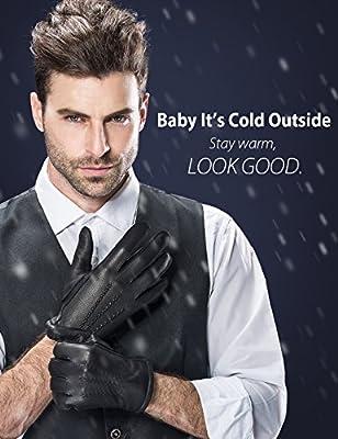 YISEVEN Men's Deerskin Leather Dress Gloves Fleece Lined Three Points