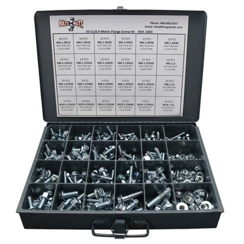 Metric Class 10.9 JIS Hex Cap Flange Frame Bolts & Serrated Flange Nuts Assortment Kit - 401 Pieces! by BoltsandNuts