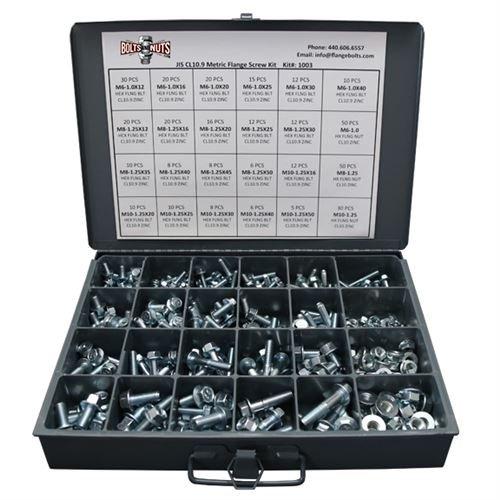 Metric Class 10.9 JIS Hex Cap Flange Frame Bolts & Serrated Flange Nuts Assortment Kit - 401 Pieces!