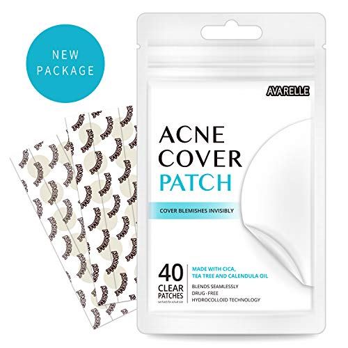 Avarelle Acne Absorbing Cover Patch Hydrocolloid, Tea Tree, Calendula Oil, CICA (40 ROUND PATCHES) (Best Treatment For Red Nose)
