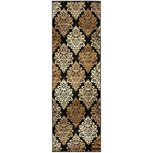Superior Danvers Collection Area Rug, Modern Elegant Damask Pattern, 10mm Pile Height with Jute Backing, Affordable Contemporary Rugs - Black, 2'7