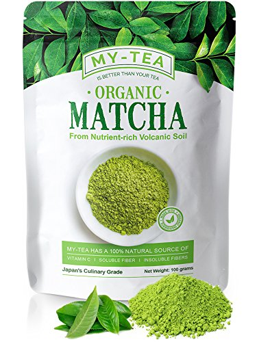 My Tea- Matcha Green Tea Powder Smooth Flavor from Nutrient Rich Volcanic Soil - Japanese Premium Green Tea Culinary Grade Anti-Oxidant | USDA & JAS Organic | Pure Non-GMO | Vegan 100 grams