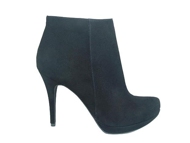 Botines de Piel Negros con Tacon de Aguja 9 cm, Plataforma 1 cm para Mujer y Cierre con Cremallera: Amazon.es: Zapatos y complementos