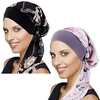 DORALLURE Vintage Silky Turban Women Chemo Cap Head Scarves Wide Band Pre-Tied Headwear - - One Size