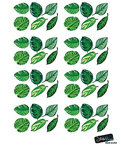 Set of 48 Tropical Plant Leaves Wall Decal, Hawaiian Party Beach Theme Decor. Great for Birthdays, Prom, Wedding Events (Prom Themes)