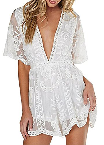 Wicky LS Women's Sexy Short Sleeve Long Dress Low V-Neck Lace Romper (S, White-Short Style)
