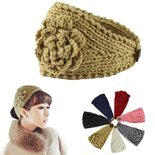 Voberry Women Crochet Headband Knit Hairband Flower Winter Ear Warmer Headwrap -