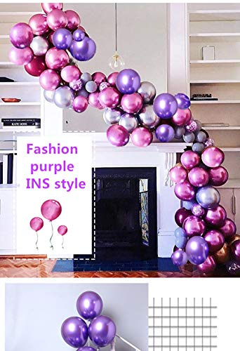 HIBAO Purple Metallic Balloons Rose Red Balloons Arch