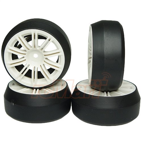 Yeah Racing Spec D 10 Spokes 2 Ribs Wheel Offset +3 White w/Tire 4pcs For 1/10 Drift -