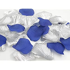 1000PCS Decorative Faux Rose Petals for Romantic Night Wedding Table Centerpieces Shop Window Decoration Floor Confetti Dark Blue and Silver Party Supplies 100