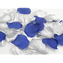1000PCS Decorative Faux Rose Petals for Romantic Night Wedding Table Centerpieces Shop Window Decoration Floor Confetti Dark Blue and Silver Party Supplies