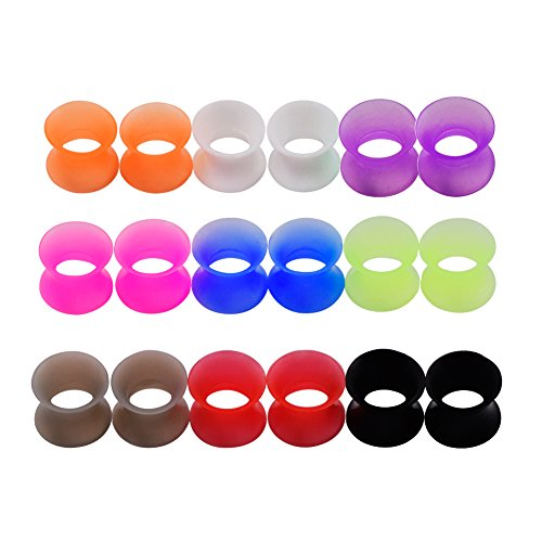 Plugs Tunnels Earlets Gauges - Longbeauty 9 Pair 8MM Thin Silicone Ear Skin Flexible Flesh Tunnel Expander Gauge Earlets 9 Colors at the same size
