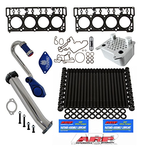 03-06 Ford Powerstroke 6.0L Diesel Custom ARP Head Stud Kit & Oem Style 18mm Head Gaskets &Sinister Diesel Oil Cooler Kit & EGR Delete Kit w/ Up-Pipe - Solution Kit - Bundle (Sinister Diesel Oil)