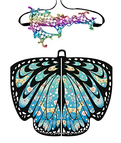 Shireake Baby Christmas/Party Prop Soft Fabric Butterfly Wings Shawl Fairy Ladies Nymph Pixie Costume Accessory ... (168x135CM, Christmas-04(Blue))]()