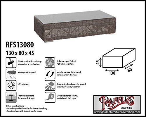 RFS13080 Rectangular ottoman cover 130 x 80 H: 45 cm Protection cover for ottoman, Garden footstool cover, Outdoor cover for a hocker Raffles Covers