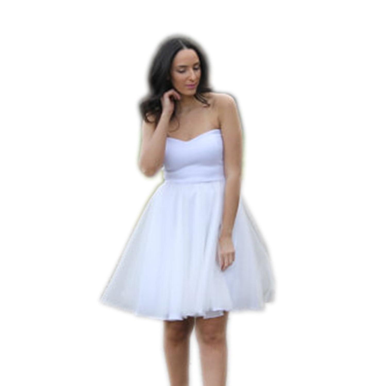 Engerla Women's Tulle Sweetheart Sleeveless Plain Mini Customized A-Line Bridesmaid Dress