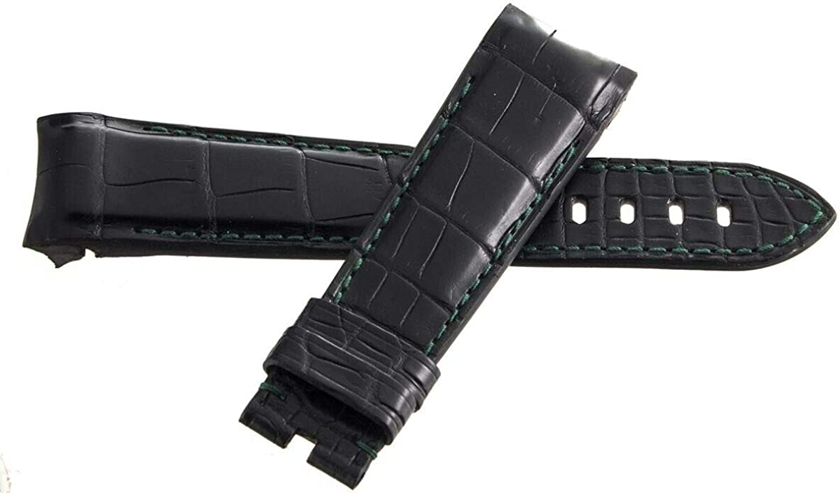 Genuine Graham Green Stitching Black Leather Watch Band Strap 24mm x 20mm