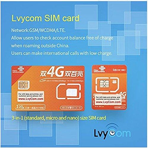 China SIM Card 1GB 4G LTE Data + 50 mins Local Calls or 100 Local Texts,! Free Incoming Calls and Texts