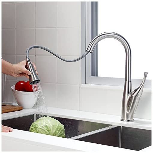 Kitchen Pull Down Kitchen Faucet – Sarlai Lead-Free Modern Streamline Brushed Nickel Stainless Steel Sprayer Single Lever Single… modern sink faucets