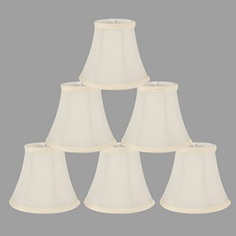 Onepre Cream Linen Clip On Lamp Shades Small Candle Chandelier Lampshade Bell 6 Inch Set Of 6